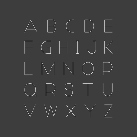 Simple minimalistic font. Vector english alphabet. Thin linear latin letters.