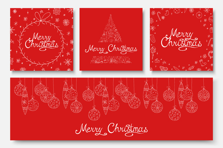 Collection of vector beautiful Merry Christmas cards - hand drawn design. Winter holiday red backgrounds with calligraphy lettering and doodle elements.