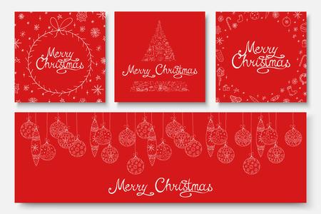 Raccolta di vettore belle cartoline di Buon Natale - disegno disegnato a mano. Sfondi rossi per le vacanze invernali con scritte in calligrafia ed elementi scarabocchiati.