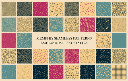 Vector collection of Memphis seamless patterns. Retro design - fashion 80-90s. Color textures - trendy backgrounds