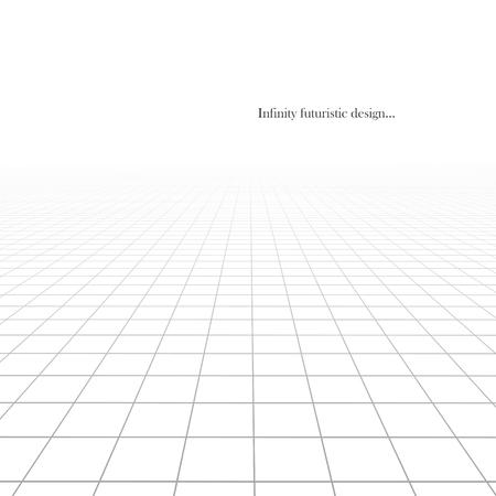 Fondo futurista abstracto de vector con perspectiva de visión. Piso de baldosas de rejilla blanca textura infinita.