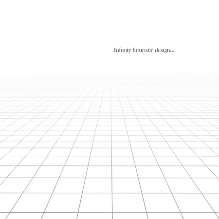Vector abstract futuristic background with vision perspective. White grid tile floor infinity texture.