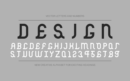 Vector creative font - retro ancient design. Modern english alphabet, decorative latin letters and numerals.