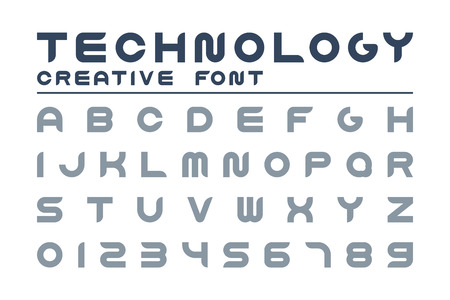 Vector technology creative font. Trendy english alphabet. Simple latin letters and numerals - digital minimalistic design. Ilustração