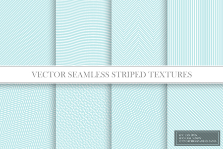 Collection of seamless striped textures. Delicate geometric patterns in turquoise colors. Archivio Fotografico - 125590123