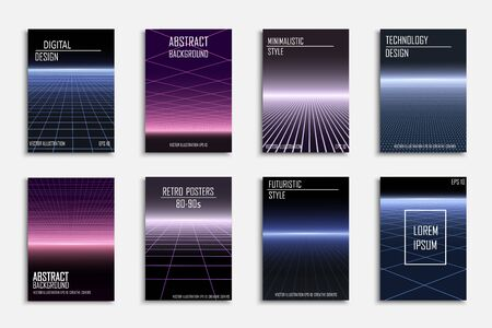 Abstract contemporary templates, covers, placards, brochures, banners, flyers, backgrounds. Futuristic digital design