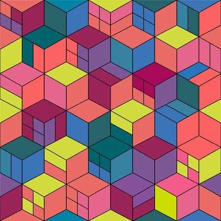 Trendy seamless colorful pattern - repeatable geometric design. Creative vibrant mosaic cubes texture. Abstract contemporary background. Ilustrace