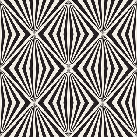 Seamless geometric stylish illusion pattern. Simple monochrome design. Creative fashion striped texture. Vector decorative background.