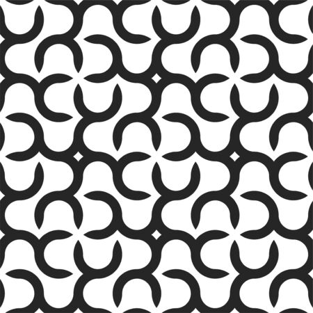 Vector seamless geometric pattern with creative shapes. Endless monochrome background. Black and white stylish texture.