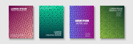 Set of trendy colorful posters - memphis style, retro design with creative shapes. Contemporary art backgrounds, brochures, banners, templates, cards, covers.