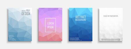 Collection of vector bright abstract polygonal contemporary templates, posters, placards, brochures, banners, flyers, backgrounds and etc.