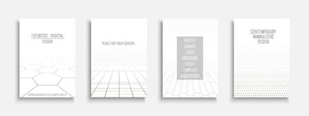 Collection of vector abstract contemporary templates, covers, placards, brochures, banners, flyers, backgrounds. White futuristic tile floor design with perspective Ilustrace