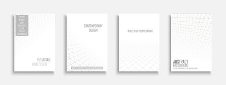 Collection of vector abstract contemporary templates, covers, placards, brochures, banners, flyers, backgrounds. White futuristic creative 3d design with grid geometric vision perspective