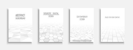 Collection of abstract contemporary templates, covers, placards, brochures, banners, flyers, posters, backgrounds. White futuristic tile floor design Ilustrace