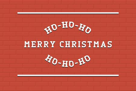 Vector Merry Christmas background. Retro stylish lettering on tile red backdrop - creative art design.