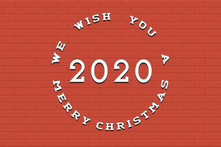 Happy New 2020 Year background. Tile minimalistic red creative design.