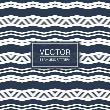 Vector seamless striped textile texture - curve blue and white design. Creative cloth repeatable pattern. Simple retro background Ilustrace