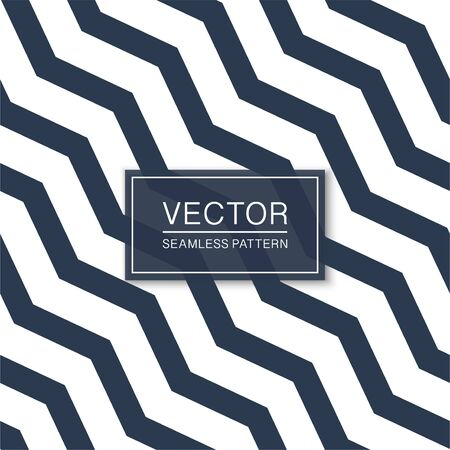 Seamless diagonal zigzag pattern - vector striped minimalistic background. Blue and white texture - curve design Ilustrace