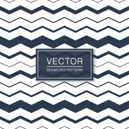 Stylish seamless striped pattern - blue and white zigzag texture. Vector textile background