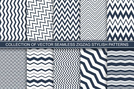 Collection of geometric seamless striped patterns - blue and white zigzag textures. Vector textile repeatable backgrounds