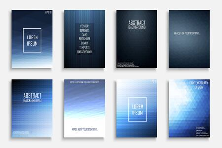 Collection of blue vector abstract gradient contemporary backgrounds. Dark color covers - mosaic geometric design.