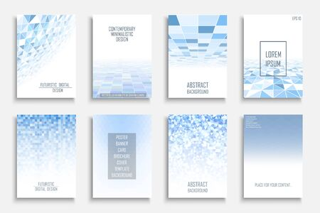 Collection of vector abstract digital contemporary backgrounds. Blue light futuristic covers - mosaic geometric design.