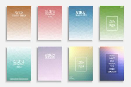 Collection of vector colorful abstract polygonal contemporary backgrounds. Vibrant gradient covers - mosaic geometric design. Ilustrace