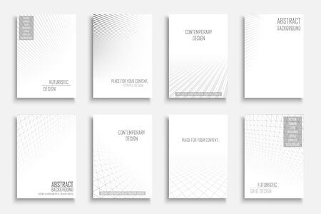 Collection of vector abstract contemporary geometric backgrounds. White futuristic creative 3d design with grid and striped vision perspective. Ilustrace