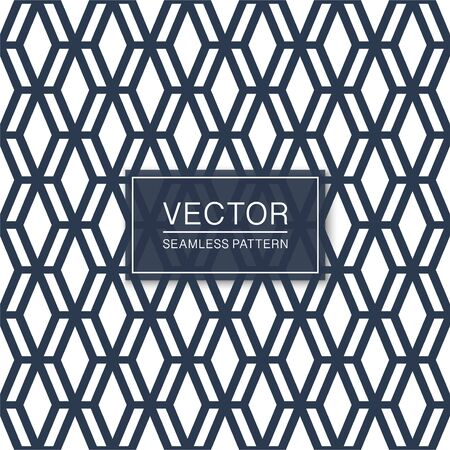 Seamless geometric hexagonal grid pattern - stylish blue and white symmetric texture. Simple vector background