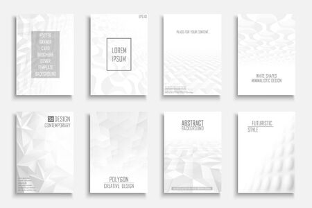 Collection of vector abstract contemporary templates, covers, placards, brochures, banners, flyers, backgrounds. White futuristic creative 3d design with geometric shapes and vision perspective