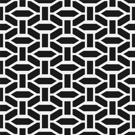 Vector seamless geometric pattern. Modern symmetric texture. Repeating abstract monochrome background with creative shapes. Ilustrace