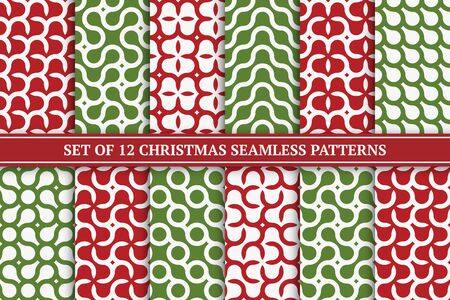 Set of vector seamless geometric colorful patterns. Christmas bright endless backgrounds - retro style. Creative X-mas textures for wrapping paper, covers, wallpapers and etc