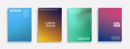 Collection of vector bright abstract contemporary templates, posters, placards, brochures, banners, flyers, backgrounds and etc. Colorful gradient dotted covers - trendy geometric vibrant design. Ilustração