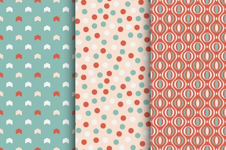 Set of vector seamless colorful patterns - xmas design. Christmas decorative bright backgrounds - retro style. Endless creative cute textures for wrapping paper, covers, wallpapers and etc Çizim