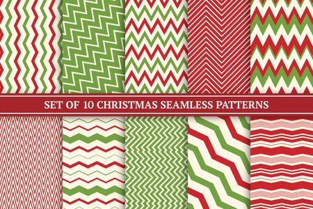 Christmas seamless colorful zigzag patterns. Bright X-mas striped retro backgrounds - vintage style. Endless creative linear textures. Can be used as wrapping paper, covers, wallpaper and etc Ilustração