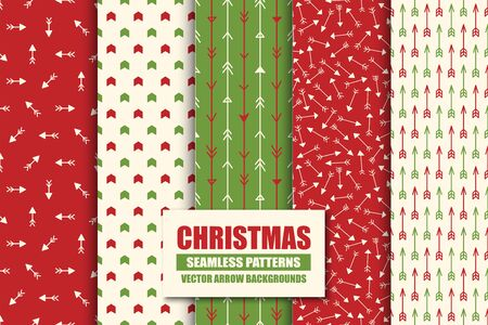 Set of colorful seamless geometric arrow patterns - xmas design. Christmas vector bright ret backgrounds - vint style. Creative trendy endless textures for wrapping paper, covers, wallpapers and etc Ilustração