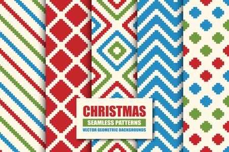 Set of colorful seamless geometric patterns - xmas design. Christmas vector bright retro backgrounds. Creative trendy endless fabric textures Ilustração