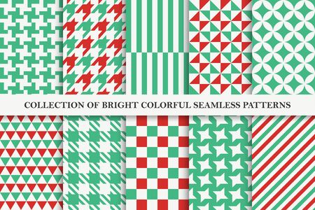 Collection of bright seamless colorful geometric patterns. Endless textile textures. Vibrant tileable backgrounds for your any design and ideas.