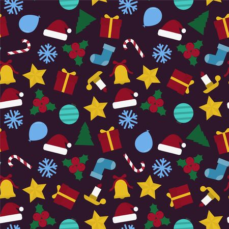 Christmas seamless colorful pattern - Christmas design. Abstract festive background. Endless creative cartoon textures.