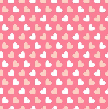 Simple seamless geometric pattern with hearts in pink colors. Cute background - Valentines day design