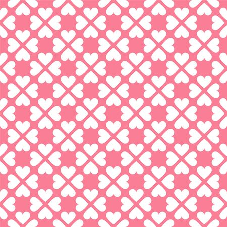 Vector seamless geometric pattern with hearts in pink colors. Cute background - Valentines day design