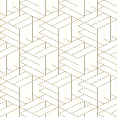 Abstract seamless ornamental gold pattern - geometric design.Vector minimalistic background