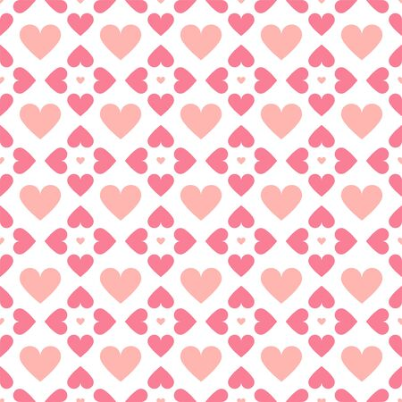 Abstract seamless geometric pattern with hearts in pink colors. Cute background - Valentines day design