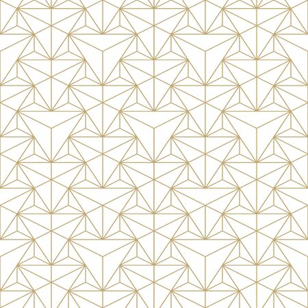 Abstract seamless ornamental pattern - geometric design. Vector minimalistic luxury background. Creative grid gold texture.