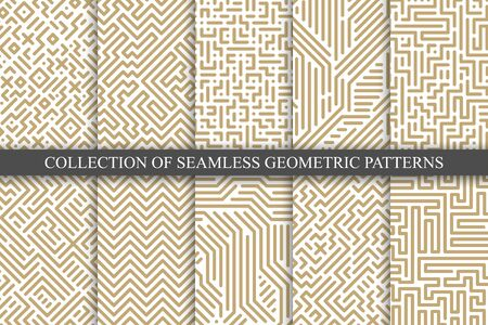 Collection of vector seamless geometric patterns - striped design. Trendy digital linear backgrounds, endless luxury gold texture