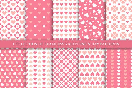 Collection of seamless geometric patterns with hearts in pink colors. Cute backgrounds for Valentines day