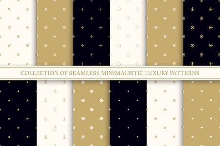 Collection of seamless geometric simple patterns. Luxury trendy minimalistic backgrounds. Creative elegant textures.