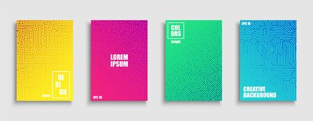 Gradient colorful digital covers, templates, posters, placards, brochures, banners, flyers and etc. Abstract geometric bright striped techno design.