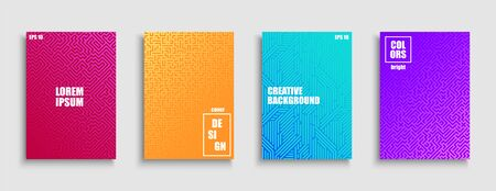 Creative colorful trendy striped posters, templates, placards, brochures, banners, backgrounds, flyers and etc. Bright gradient covers for your ideas. Geometric digital design.