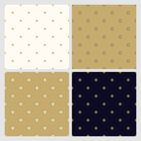 Set of seamless minimalistic stylish patterns. Luxury trendy simple backgrounds. Creative elegant textures. 向量圖像